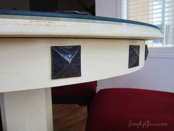 DIY Dining Table (decorative nails on lip of table)