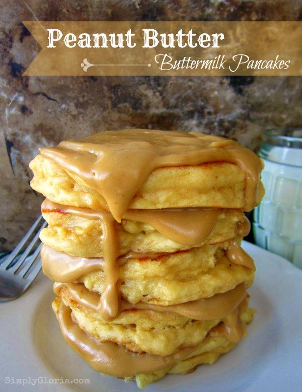 Peanut Butter Buttermilk Pancakes by SimplyGloria.com