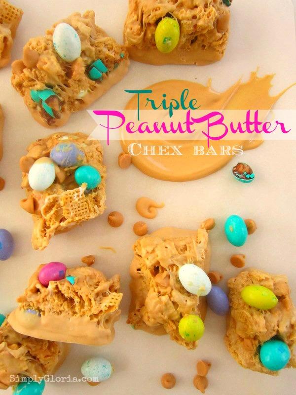 Triple Peanut Butter Chex Bars - SimplyGloria.com  #PeanutButter #Chex