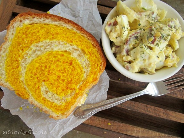 Egg Salad with Bacon Sandwich on Yellow Brick Road - SimplyGloria.com