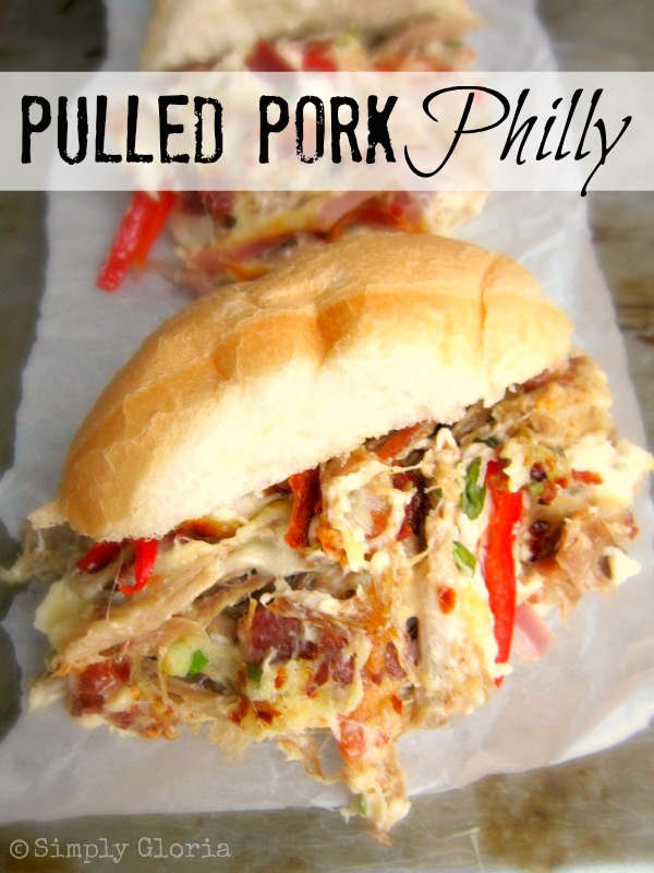 Pulled Pork Philly Sandwich - SimplyGloria.com  Also, made with bacon, 3 different cheeses and a lot goodness!