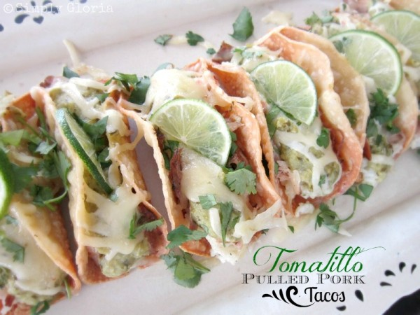 Tomatillo Pulled Pork Tacos - SimplyGloria.com