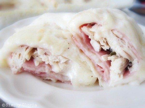 Chicken Cordon Bleu Enchiladas - SimplyGloria.com #chicken #dinner