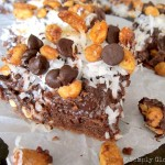 German Chocolate Fudge Bars - SimplyGloria.com  Made with an easy cake mix for a quick base!