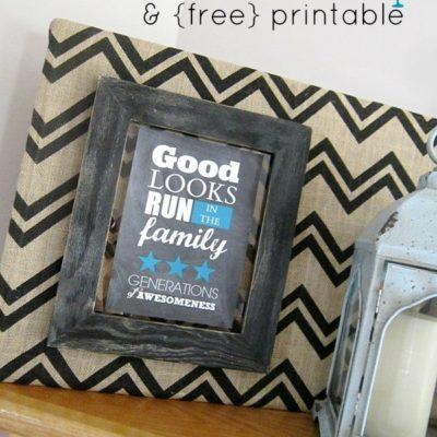 Chevron Burlap & Free Printable