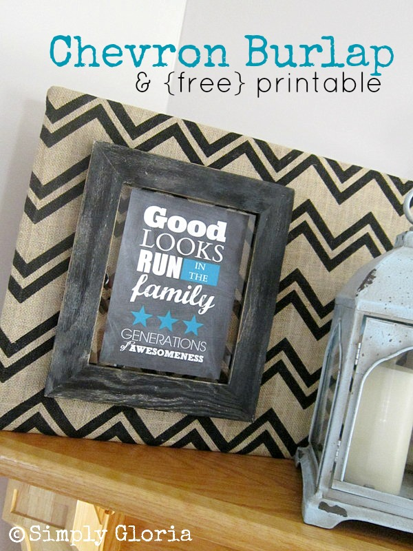 Chevron Burlap and Free Printable - Easy DIY project! SimplyGloria.com