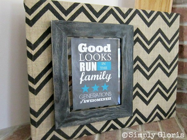 Chevron Burlap and Free Printable - SimplyGloria.com #chevron