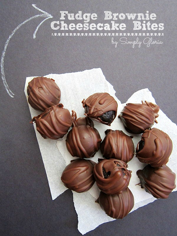 Fudge Brownie Cheesecake Bites - SimplyGloria.com Made with a store bought cheesecake and dipped in chocolate!
