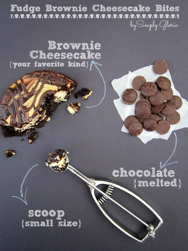 Fudge Brownie Cheesecake Bites dipped in melted #chocolate!  SimplyGloria.com