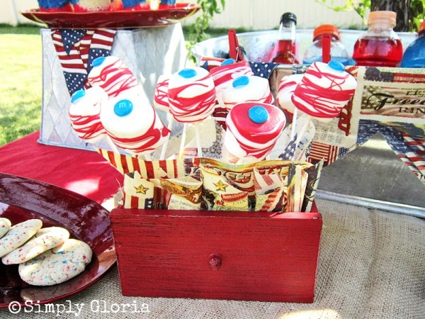 July 4th Dessert Table - Chocolate Covered Marshmallow Pops