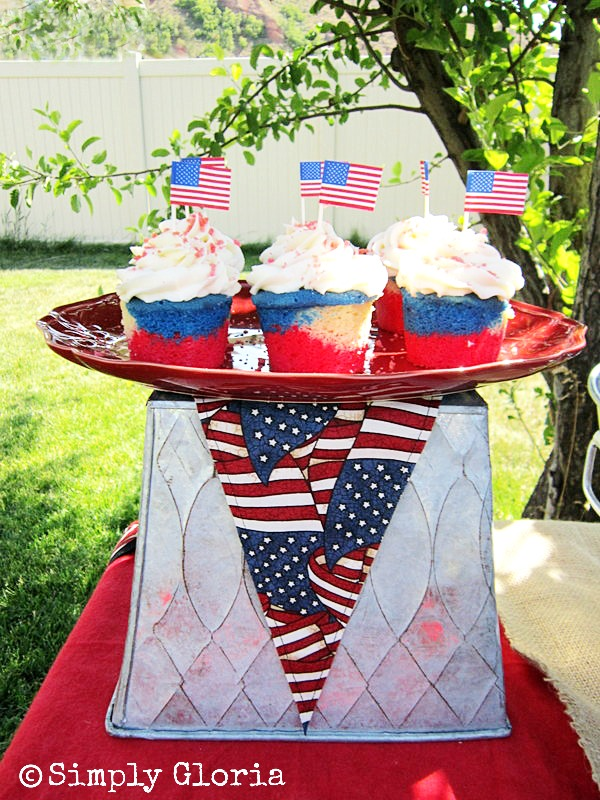 July 4th Dessert Table - Pop Rocks Topped Cupcakes