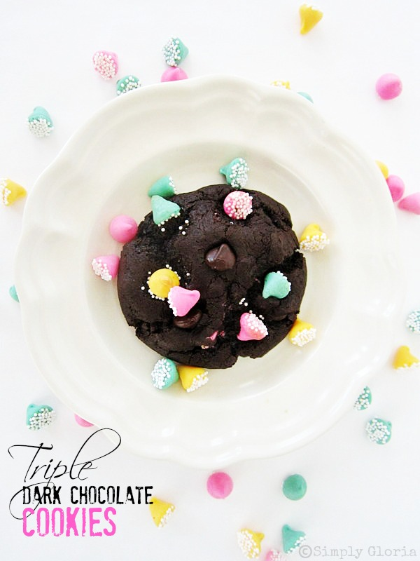 Triple Dark Chocolate Cookies - SimplyGloria.com