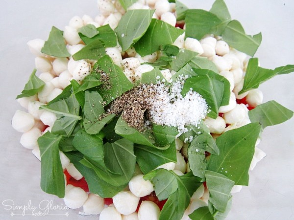 Picnic Style Caprese Salad with fresh basil