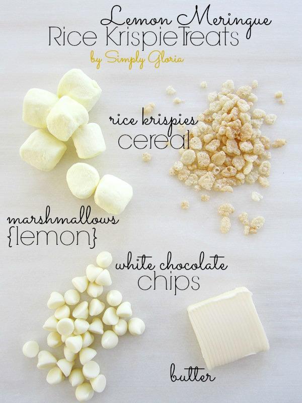 Lemon Meringue Rice Krispie Treats by SimplyGloria.com #lemon