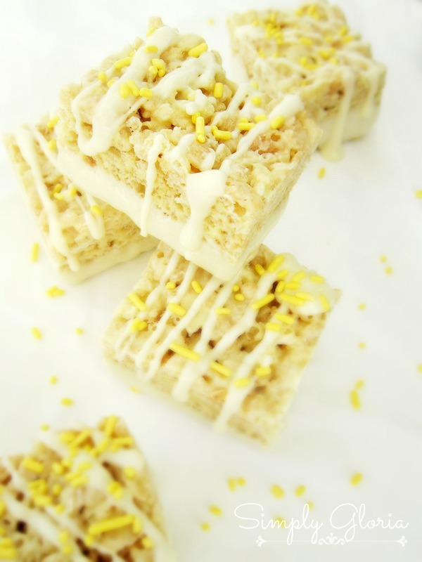 Lemon Meringue Rice Krispie Treats by SimplyGloria.com