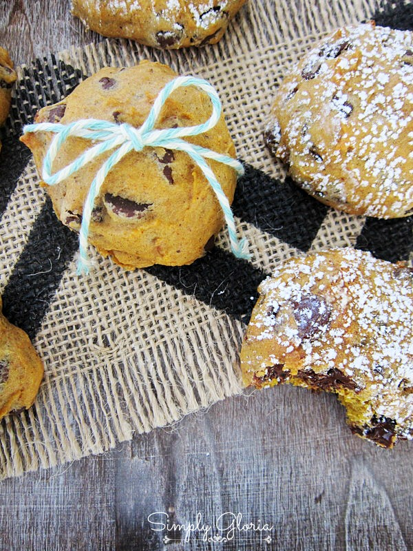 Pumpkin Chocolate Chip Cookies by SimplyGloria.com #cookies #pumpkin