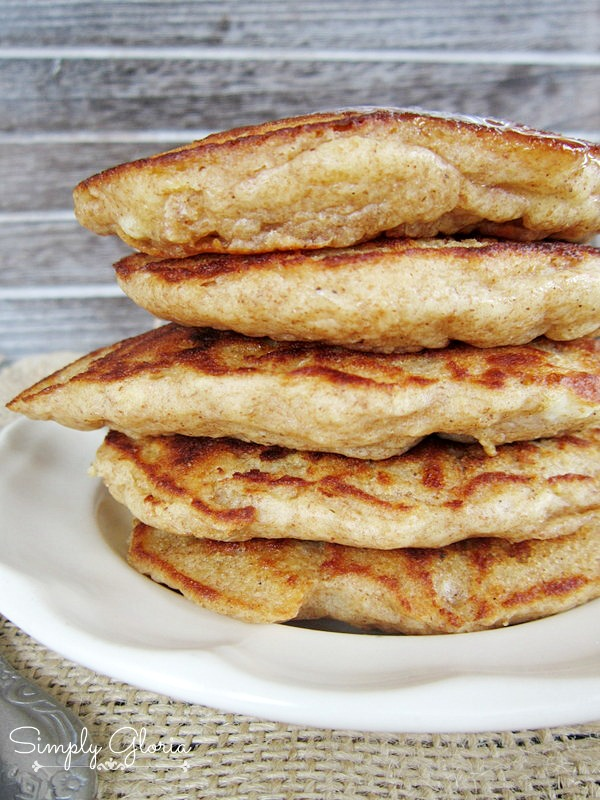 Whole Wheat Banana Pancakes by SimplyGloria.com Made with buttermilk!  #pancakes