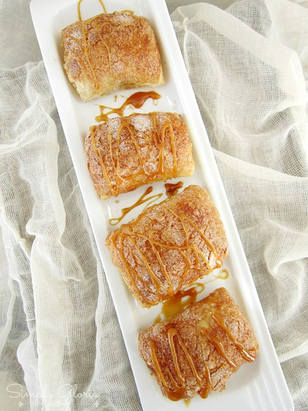 Caramel Pumpkin Empanadas made with puff pastry! Easy to make! @SimplyGloria.com