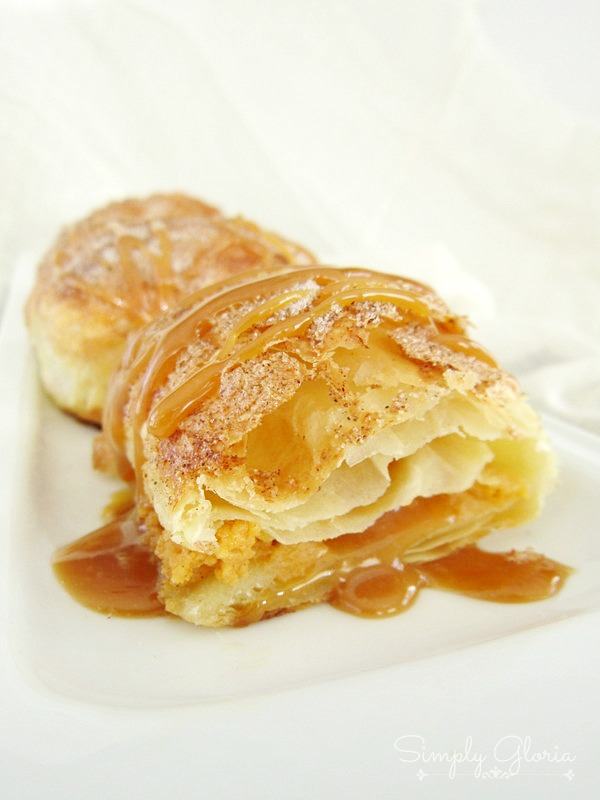 Caramel Pumpkin Empanadas made with puff pastry! Layers of cinnamon and sugar! SimplyGloria.com
