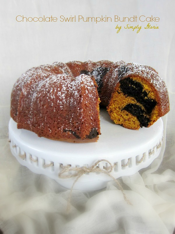 Chocolate Swirl Pumpkin Bundt Cake by SimplyGloria.com #pumpkin #cake