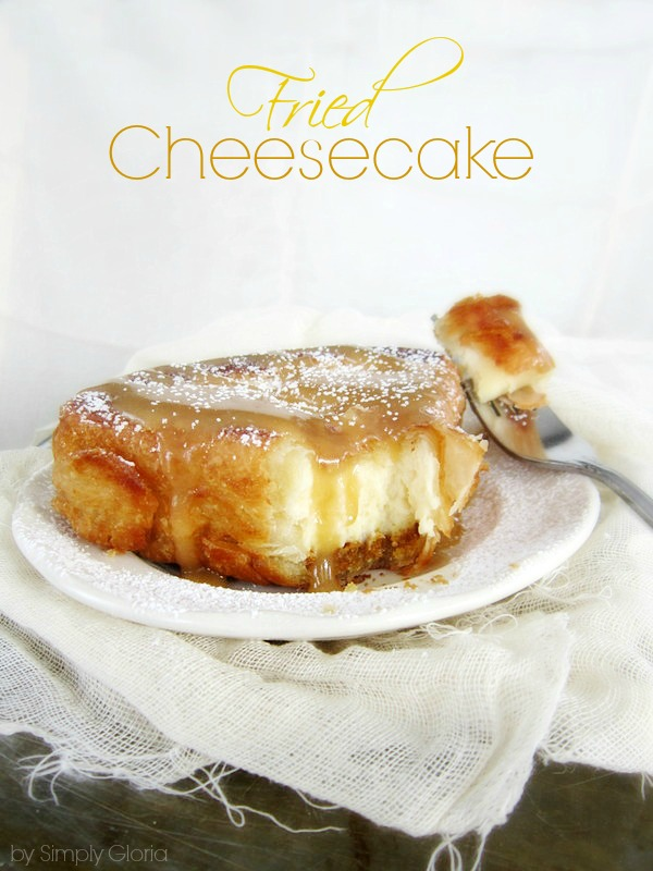 Fried Cheesecake with Caramel Sauce - SimplyGloria.com