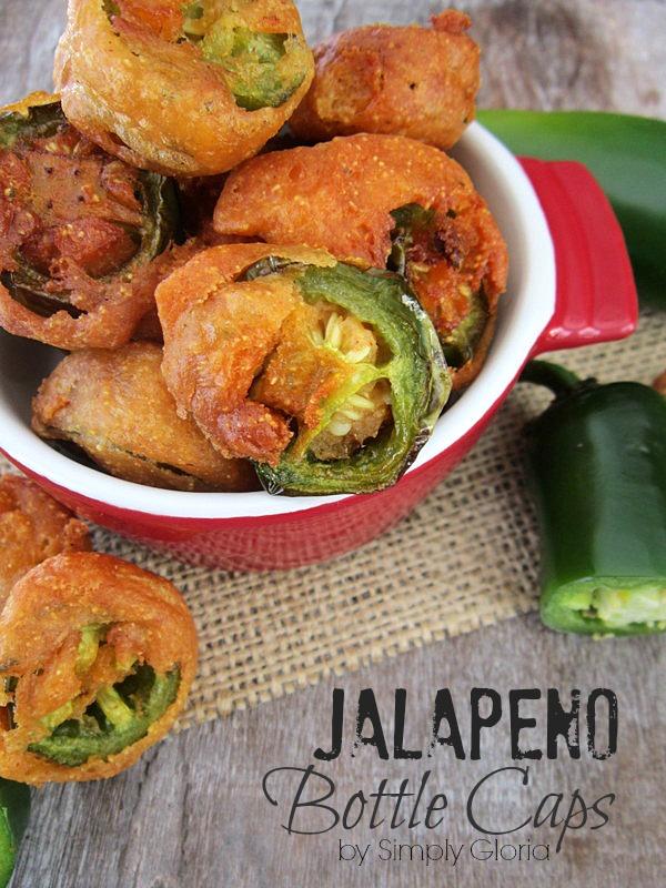 Jalapeno Bottle Caps - SimplyGloria.com #appetizers #jalapenos