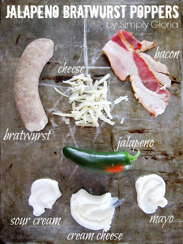 Jalapeno Bratwurst Poppers Ingredients by SimplyGloria.com