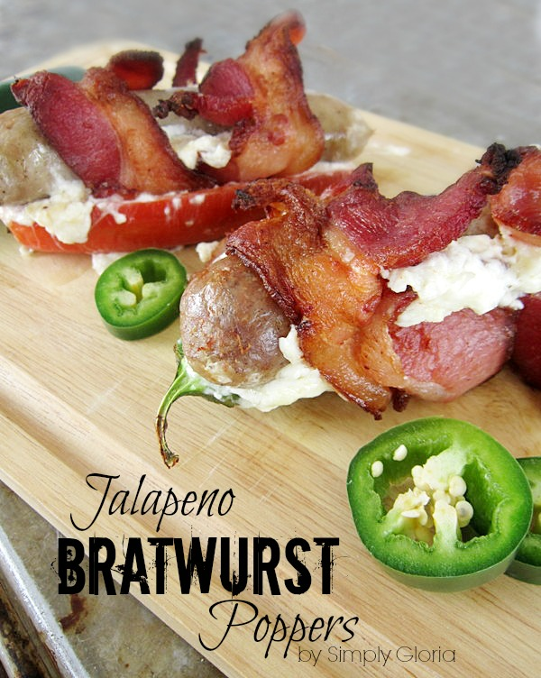 Jalapeno Bratwurst Poppers all wrapped up in #Bacon @ SimplyGloria.com