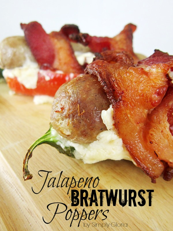 Jalapeno Bratwurst Poppers all wrapped up in #Bacon by SimplyGloria.com