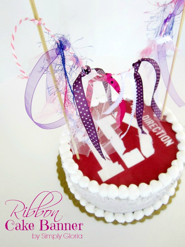 Ribbon Cake Banner Topper by SimplyGloria.com Quick and easy way to make a cake even more special!