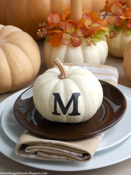 Monogrammed Pumpkin Fall Table Setting