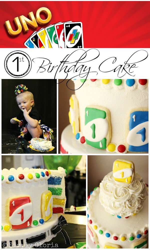 Uno Birthday Cake by SimplyGloria.com #UNO #cake #rainbow