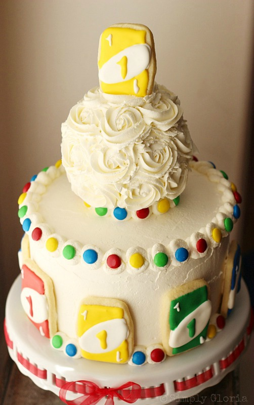 Uno Birthday Cake by SimplyGloria.com #UNO #cookies #cake