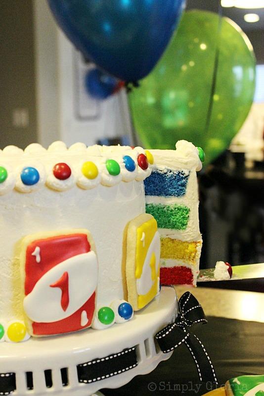 Uno Cake with Uno Card Cookies by SimplyGloria.com #Uno #rainbow #cake