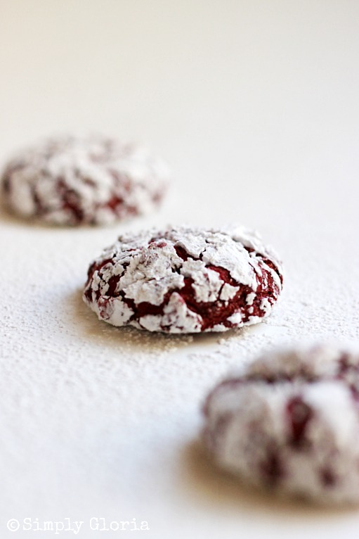 Red Velvet Crinkle Cookies by SimplyGloria.com Super soft #cookies!