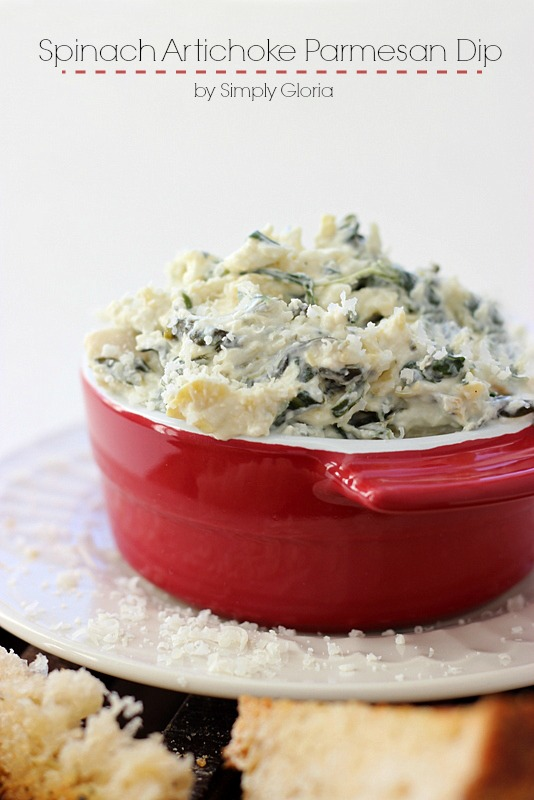 Spinach Artichoke Parmesan Dip - Easy to make and great hot or cold! #ArtichokeDip