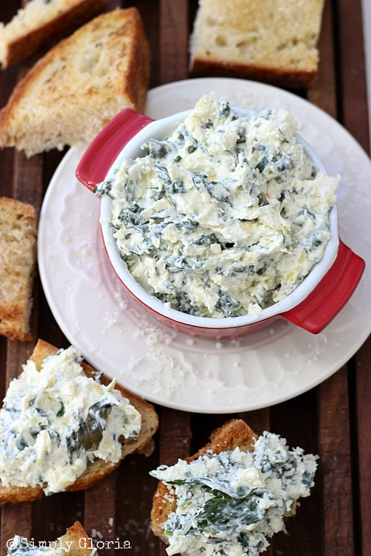 Spinach Artichoke Parmesan Dip - Easy to make and great hot or cold! #dip #artichoke