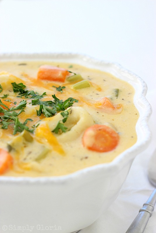 Tortellini Cheddar Cheese Soup  @SimplyGloria #soup