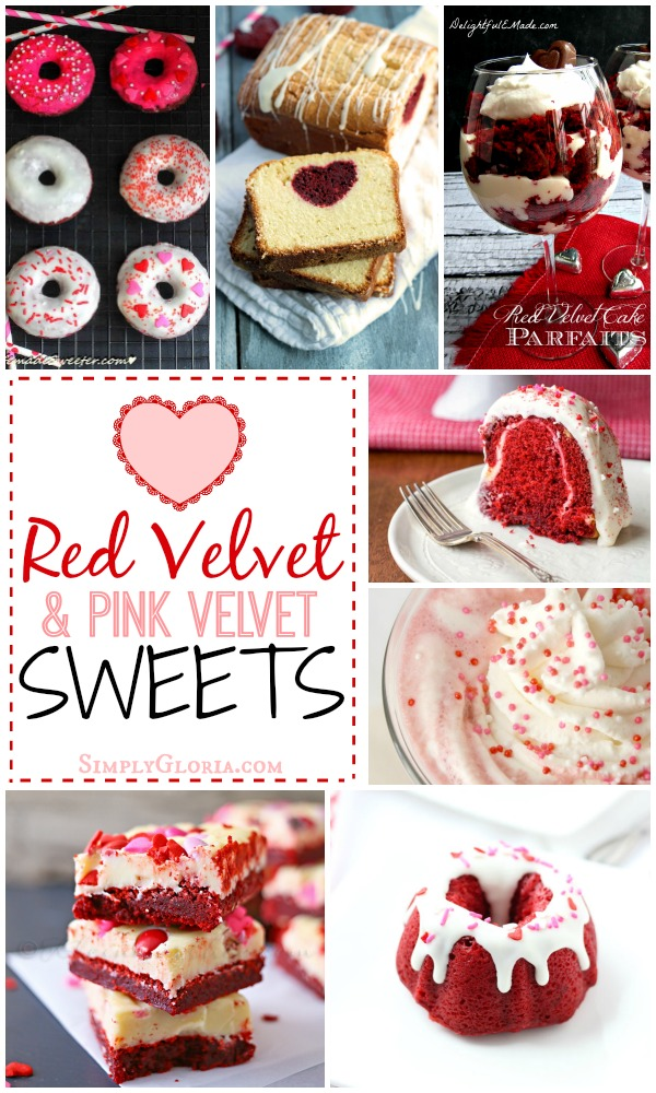 Red Velvet & Pink Velvet Sweets with SimplyGloria.com #redvelvet #pinkvelvet #recipes