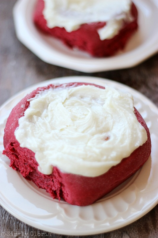 Red Velvet Sweet Rolls with a cream cheese filling! from SimplyGloria.com