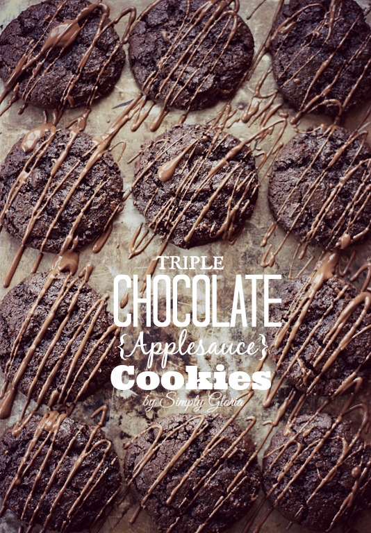 Triple Chocolate Applesauce Cookies from SimplyGloria.com #chocolate #cookies