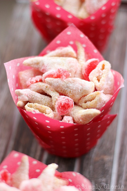 White Chocolate Maraschino Cherry Bugles from SimplyGloria.com #bugles