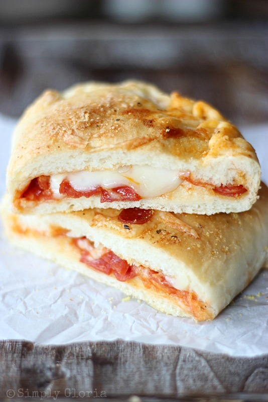 Homemade Stuffed Pizza Pockets with SimplyGloria.com #pizza