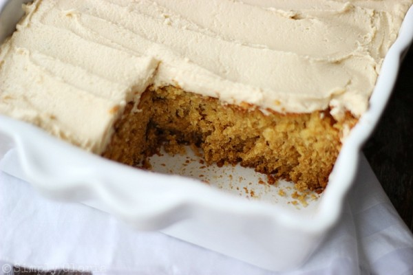 Lazy Daisy Peanut Butter Oatmeal Cake with a brown sugar frosting by SimplyGloria.com #cake
