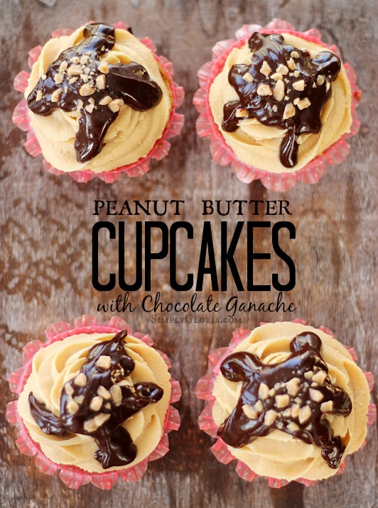 Peanut Butter Cupcakes with Chocolate Ganache with SimplyGloria.com #cupcakes