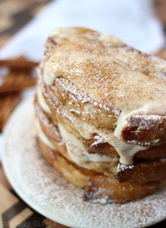 Cinnamon French Toast with Cream Cheese Glaze by SimplyGloria.com #breakfast