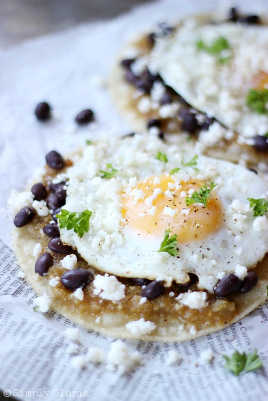 Huevos Rancheros with Tomatillo Sauce from SimplyGloria.com #eggs