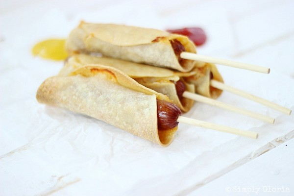 Baked Corn Tortillas Cheese Dogs with SimplyGloria.com #baked #hotdogs