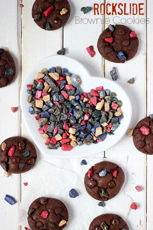 Rockslide Brownie Cookies with SimplyGloria.com Made with #ChocoRocks candy pieces!