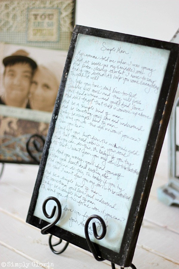 Easy to make Picture Frame Sign with SimplyGloria.com Hand write a meaningful song on the back! #Song